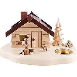 Räucherhaus mit Teelichthalter Holzhacker - 11 cm