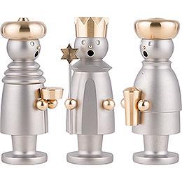 Räuchermännchen Die heiligen drei Könige - Edelstahl, glasperlengestrahlt - 15 cm