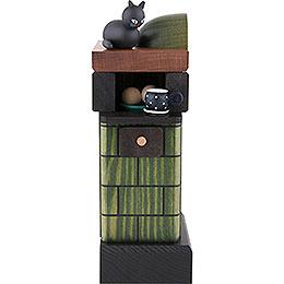 Räuchermännchen Kachelofen rauchend grün - 20 cm