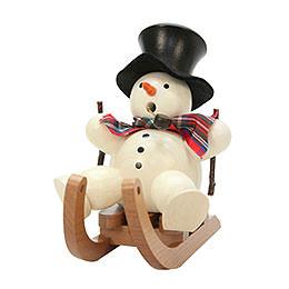 Räuchermännchen Schneemann auf Schlitten - 10,5 cm