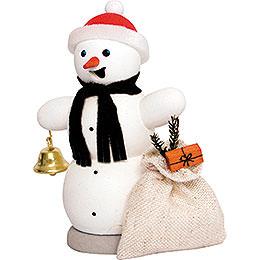 Räuchermännchen Schneemann mit Geschenkesack - 13 cm