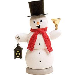 Räuchermännchen Schneemann mit Laterne und Glocke - 13 cm
