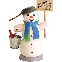 Räuchermännchen Schneemann mit Schild Vorsicht Glatteis - 13 cm