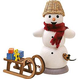 Räuchermännchen Schneemann mit Schlitten und Maus - 13 cm