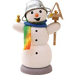 Räuchermännchen Schneemann mit Vogelhaus und Vogel - 13 cm