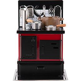 Räucherofen Küchenherd rot-schwarz - 21 cm