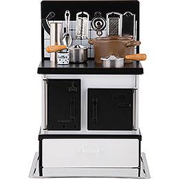Räucherofen Küchenherd weiß-schwarz - 21 cm