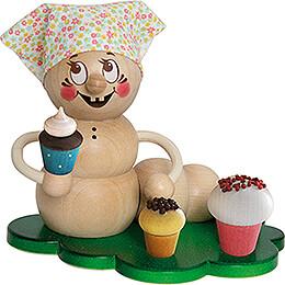 Räucherwurm Rosi mit Muffins - 14 cm