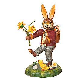 Rabbit Father with Narcissus - 10 cm / 4 inch