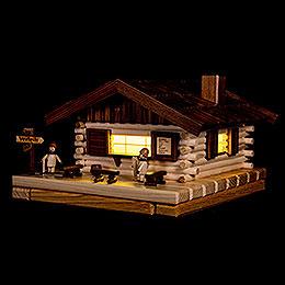 Räucher-Lichterhaus Skihütte mit Figur - 17x31 cm