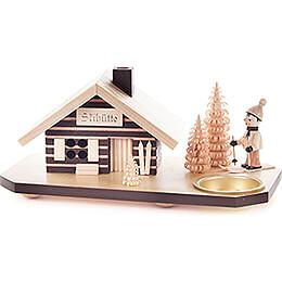 Räucherhaus Skihütte mit Skifahrer, für Teelicht - 10 cm