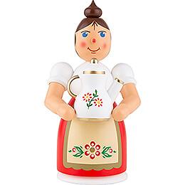 Räuchermännchen Frau mit Schürze und Kanne - 17 cm