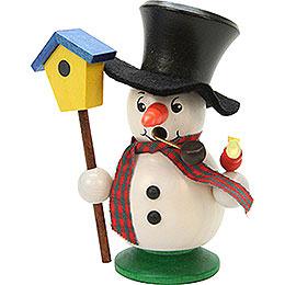 Räuchermännchen Schneebub mit Vogelhaus - 10,5 cm