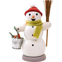 Räuchermännchen Schneemann mit Eimer und Besen - 13 cm