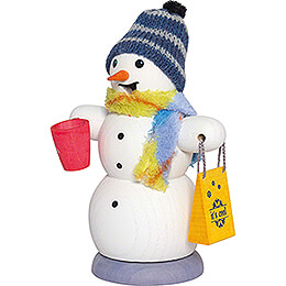 Räuchermännchen Schneemann mit Glühweintasse - 13 cm