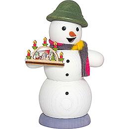 Räuchermännchen Schneemann mit Schwibbogen - 13 cm