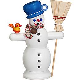 Räuchermännchen Schneemann mit blauem Topf - 16 cm