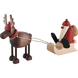 Rentier Rudolf mit Schlittenweihnachtsmann - 12 cm