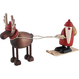 Rentier Rudolf mit Weihnachtsmann auf Ski - 12 cm