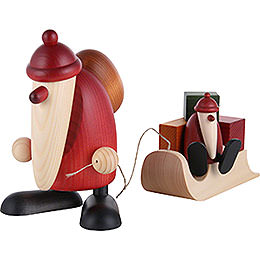 Santa Claus with a Child on a Sleigh - 19 cm / 7.5 inch
