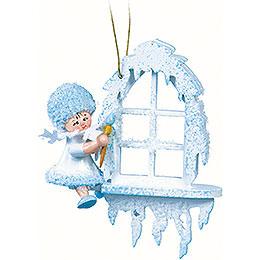 Schneeflöckchen am Fenster - 7x7x4 cm