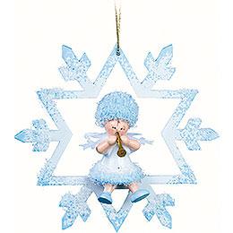 Schneeflöckchen mit Klarinette im Kristal - 7x7x4 cm