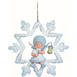 Schneeflöckchen mit Lampion - 7x7x4 cm