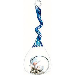 Schneeflöckchen mit Schlitten im Glastropfen blau - 20 cm