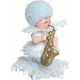 Schneeflöckchen mit Saxophon - 5 cm