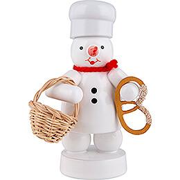 Schneemann Bäcker mit Brötchenkorb und Brezel - 8 cm