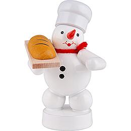 Schneemann Bäcker mit Brot - 8 cm