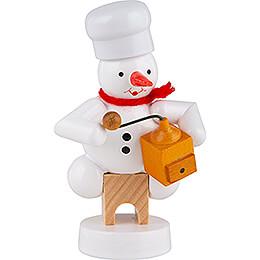 Schneemann Bäcker mit Kaffeemühle - 8 cm