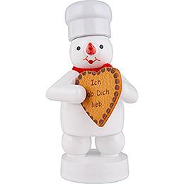 Schneemann Bäcker mit Lebkuchen-Herz - 8 cm