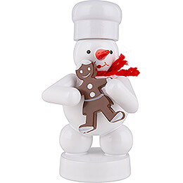 Schneemann Bäcker mit Pfefferkuchen-Frau - 8 cm