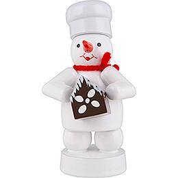 Schneemann Bäcker mit Pfefferkuchenhaus - 8 cm