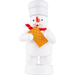 Schneemann Bäcker mit Waffel - 8 cm