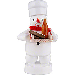 Schneemann Bäcker mit Bauchladen - 8 cm