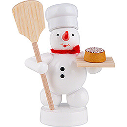 Schneemann Bäcker mit Brotschieber und Kuchen - 8 cm