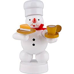 Schneemann Bäcker mit Kaffee und Kuchen - 8 cm