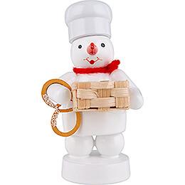 Schneemann Bäcker mit Korb und Brezel - 8 cm