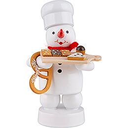 Schneemann Bäcker mit Kuchenbrett und Brezel - 8 cm