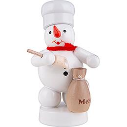 Schneemann Bäcker mit Mehlsack und Schaufel - 8 cm