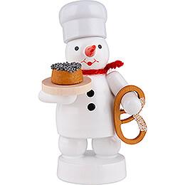 Schneemann Bäcker mit Mohnkuchen und Brezel - 8 cm