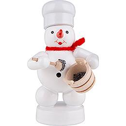 Schneemann Bäcker mit Mohntopf und Löffel - 8 cm