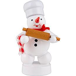 Schneemann Bäcker mit Teigrolle - 8 cm