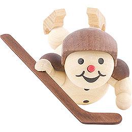 Schneemann Eishockeyspieler liegend Helm - 8 cm
