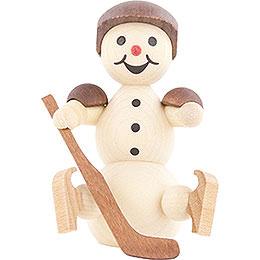 Schneemann Eishockeyspieler sitzend Helm - 8 cm