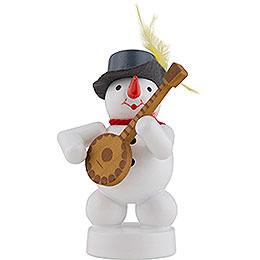 Schneemann Musikant mit Banjo - 8 cm