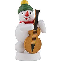 Schneemann Musikant mit Bassgeige - 8 cm