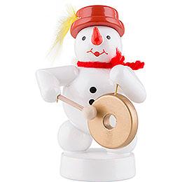 Schneemann Musikant mit Gong - 8 cm
